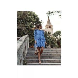 Zara Embroidered Blue Eyelet Dress nwt